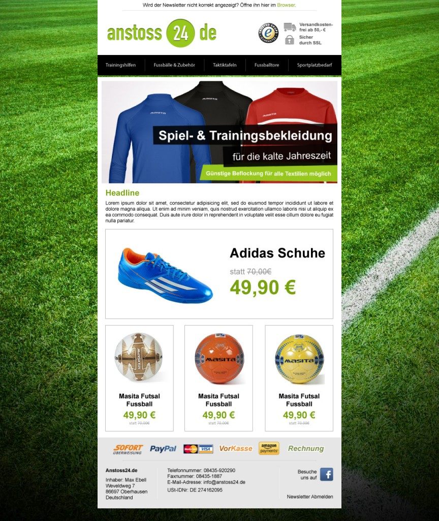 anstoss24.de Newsletter Desktop Version